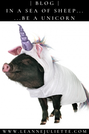Pig wearing a unicorn outfit to represent being different