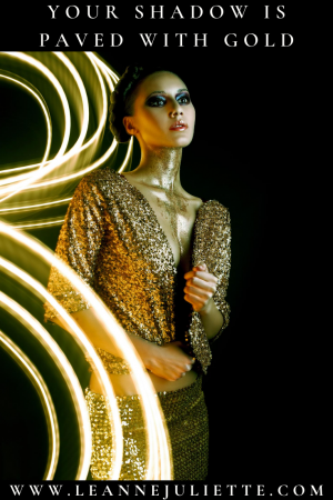 woman dressed in gold to represent shadow as gold
